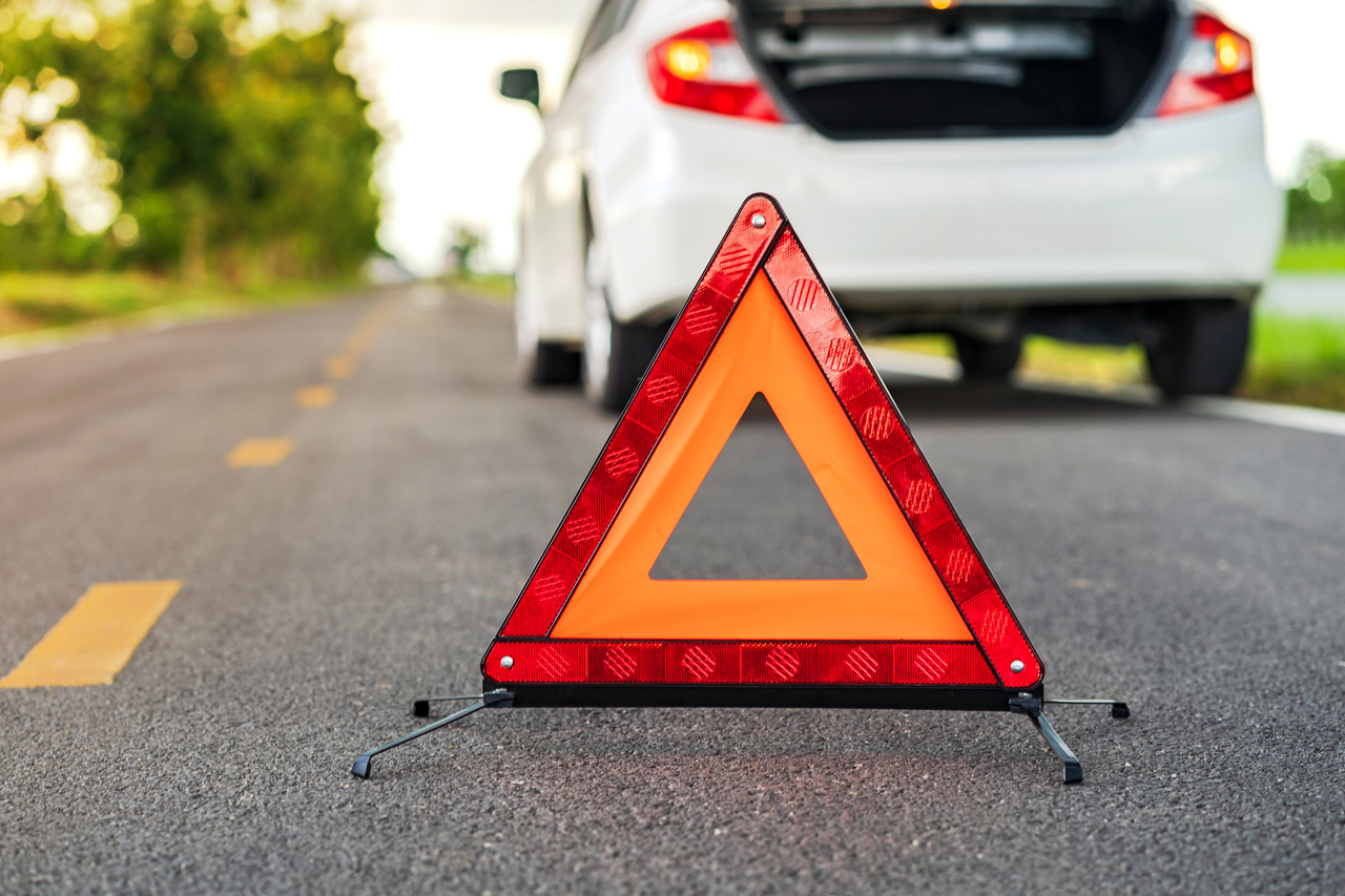 Roadside Assistance Emergency Triangle Waiting For Service