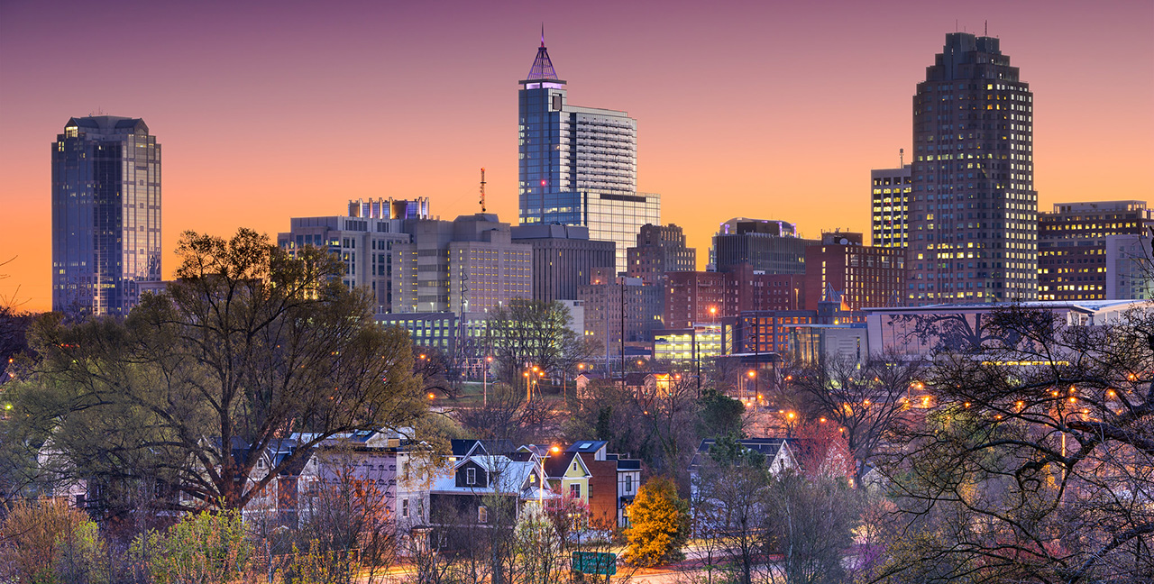 Raleigh NC Skyline At Sunset Early Spring