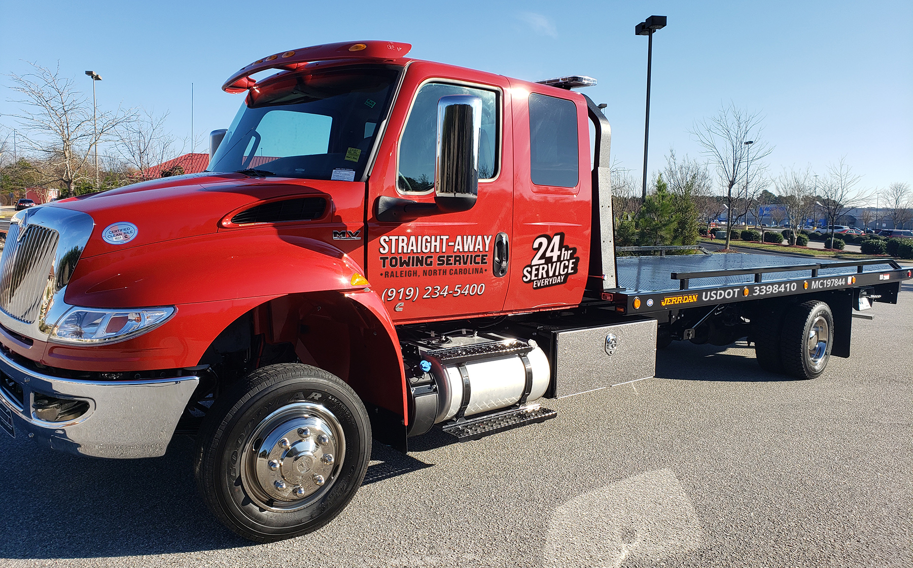 Straight Away Towing Service Raleigh NC - Red Flat Bed Truck New 1
