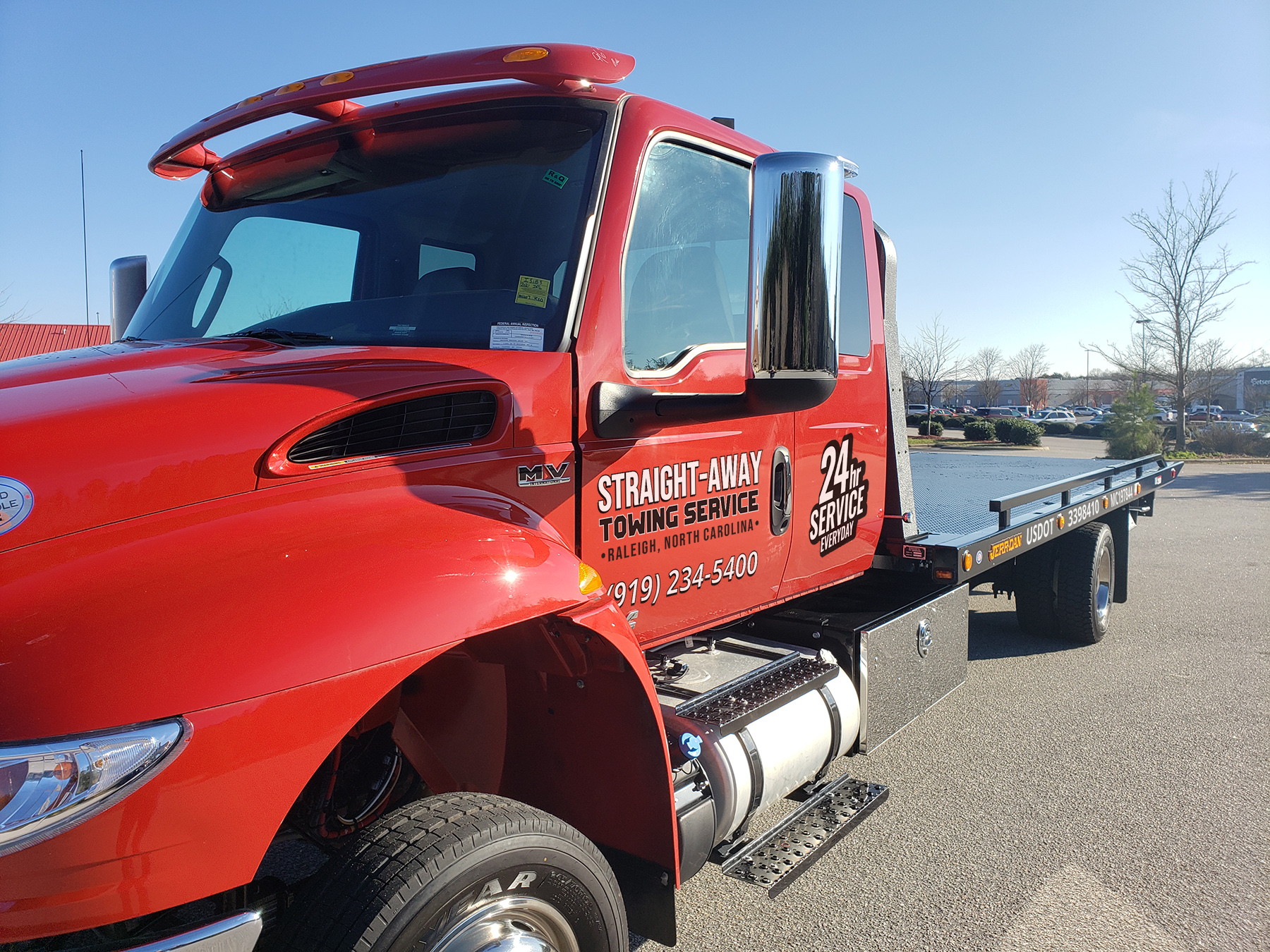 Straight Away Towing Service Raleigh NC - Red Flat Bed Truck New 3