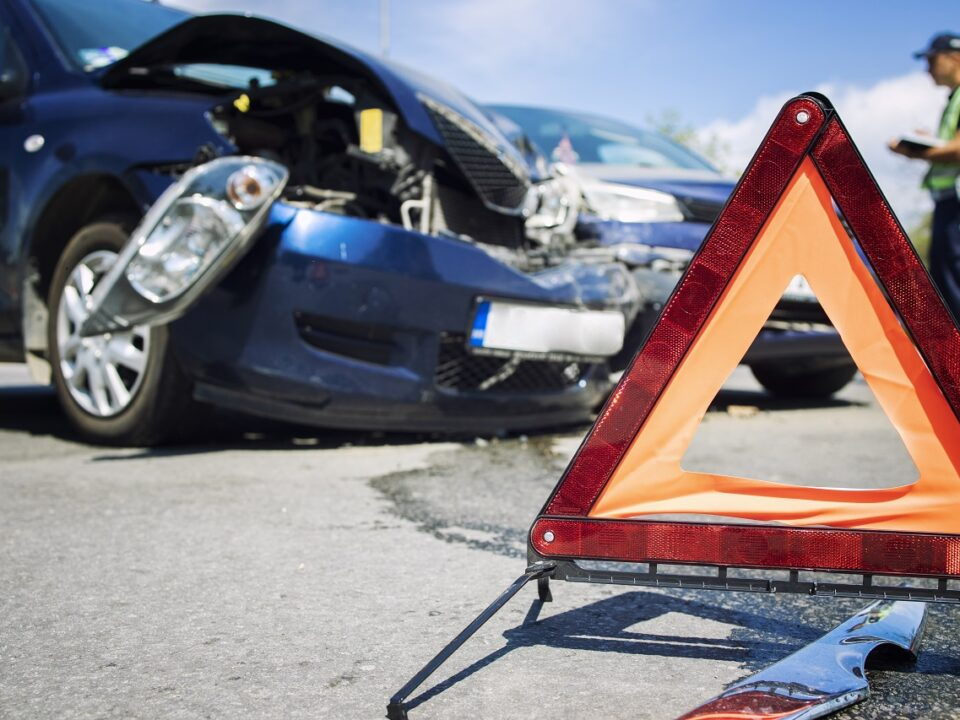 Road accident with smashed cars